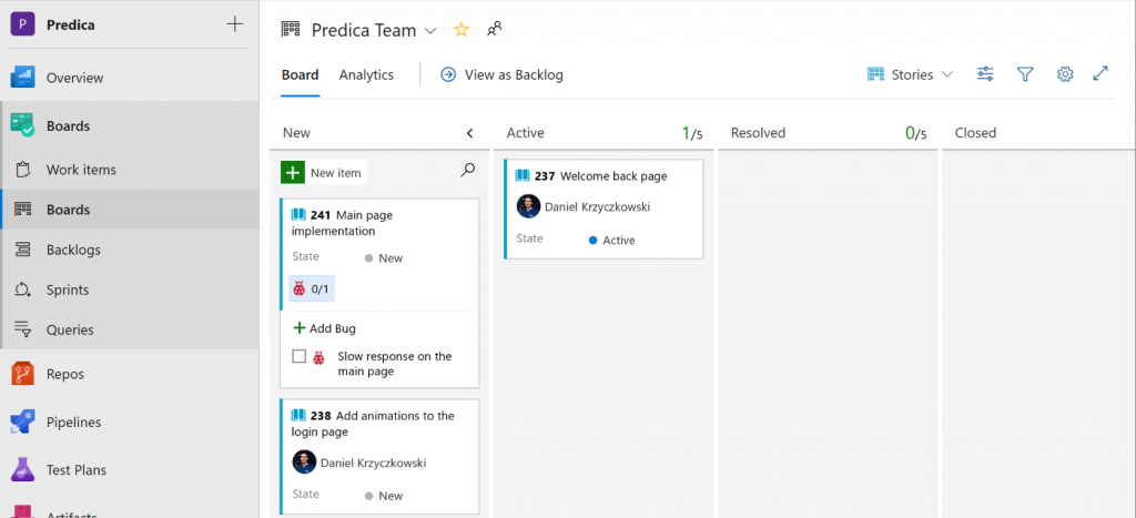Using Azure Boards for planning delivery team's tasks