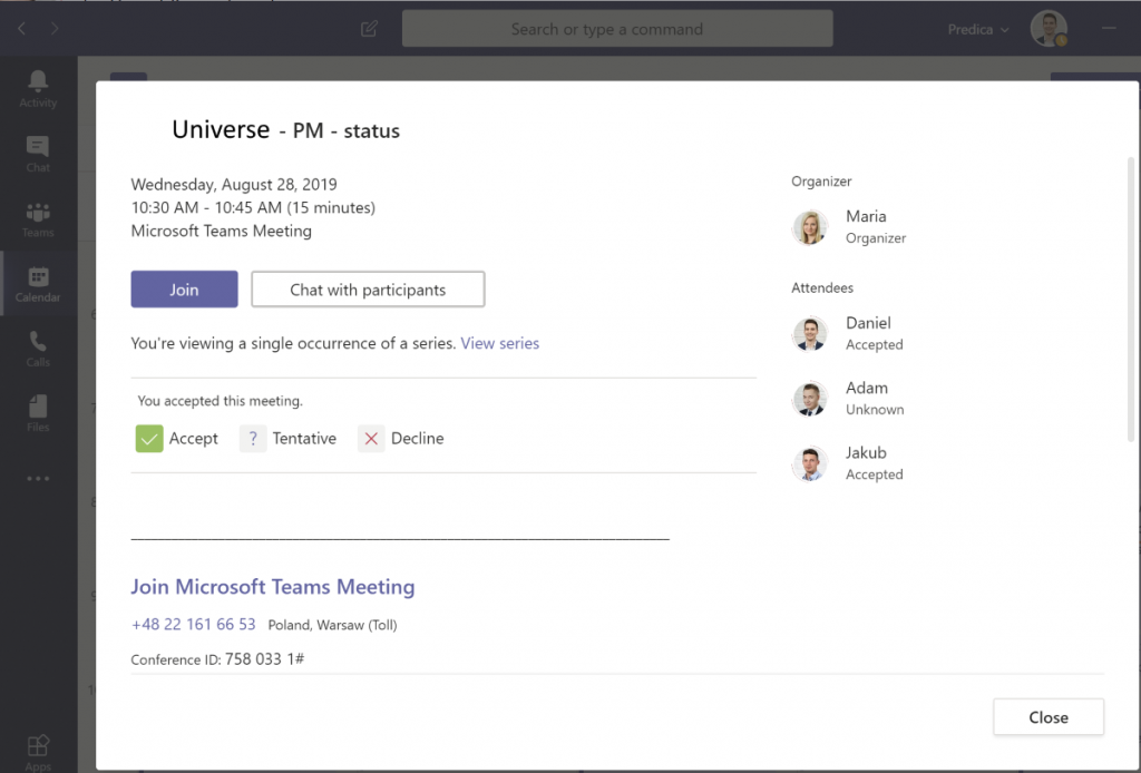 Setting up a delivery team meeting via MS Teams
