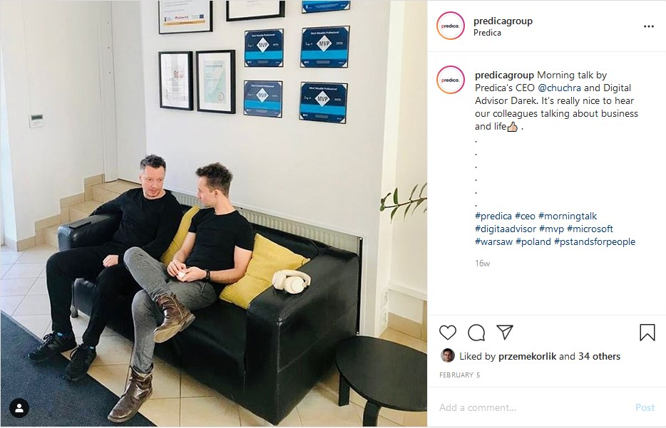 Instagram post of our CEO and Digital Advisor having a chat
