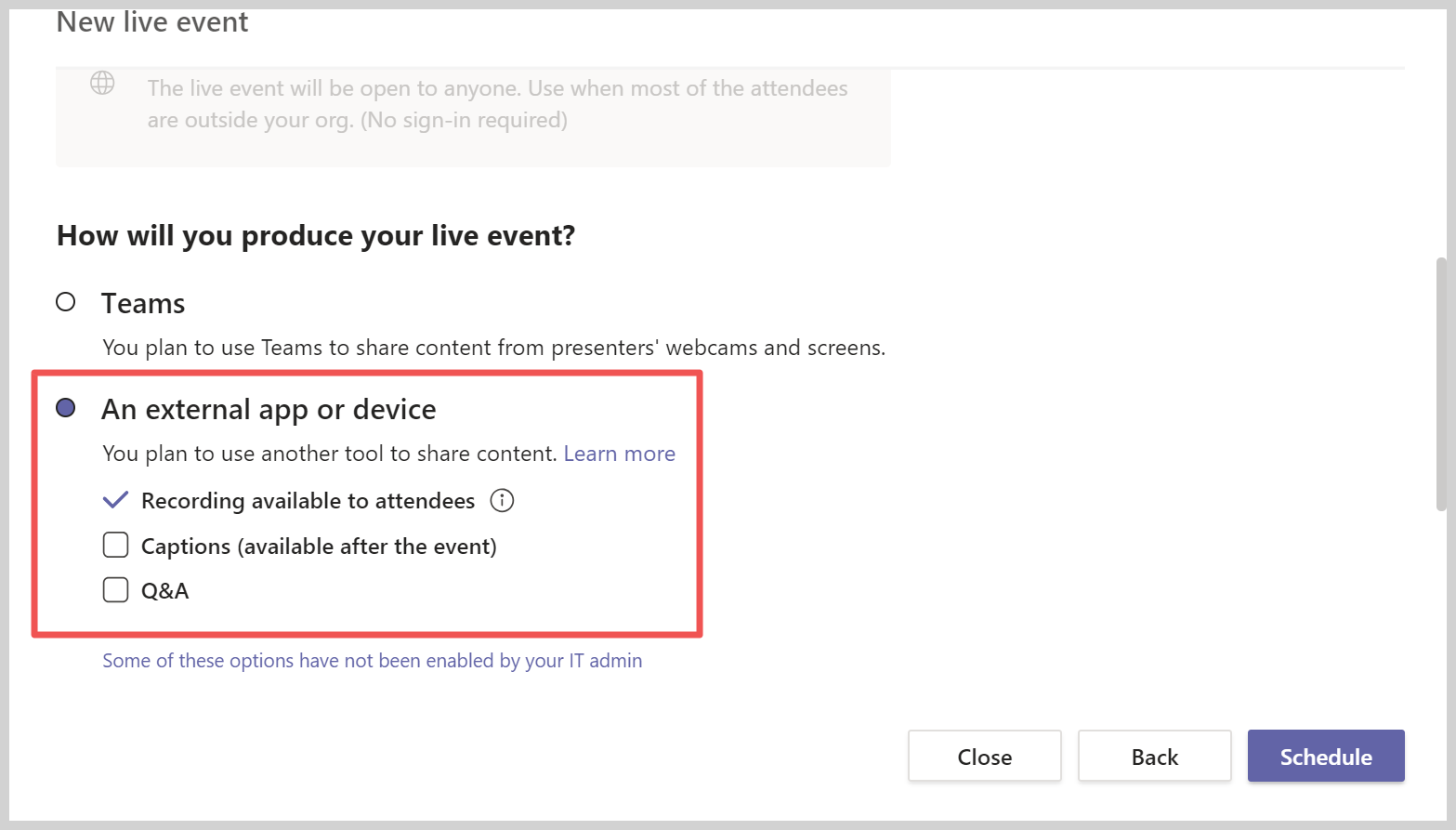 Adding an external device to produce the event