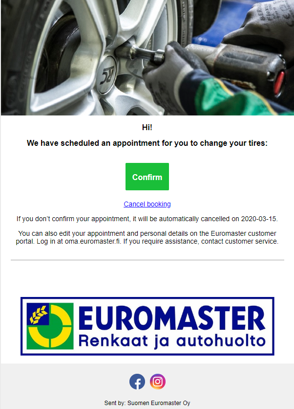 Email informing about the scheduled visit (translated form Finnish)
