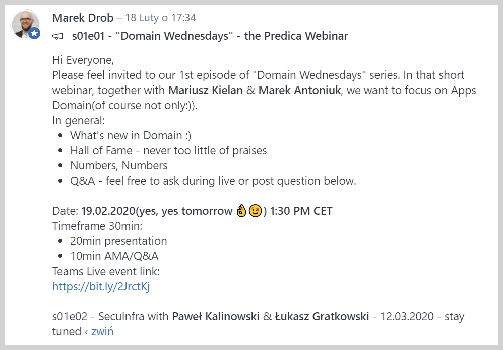 A live meeting Yammer invite