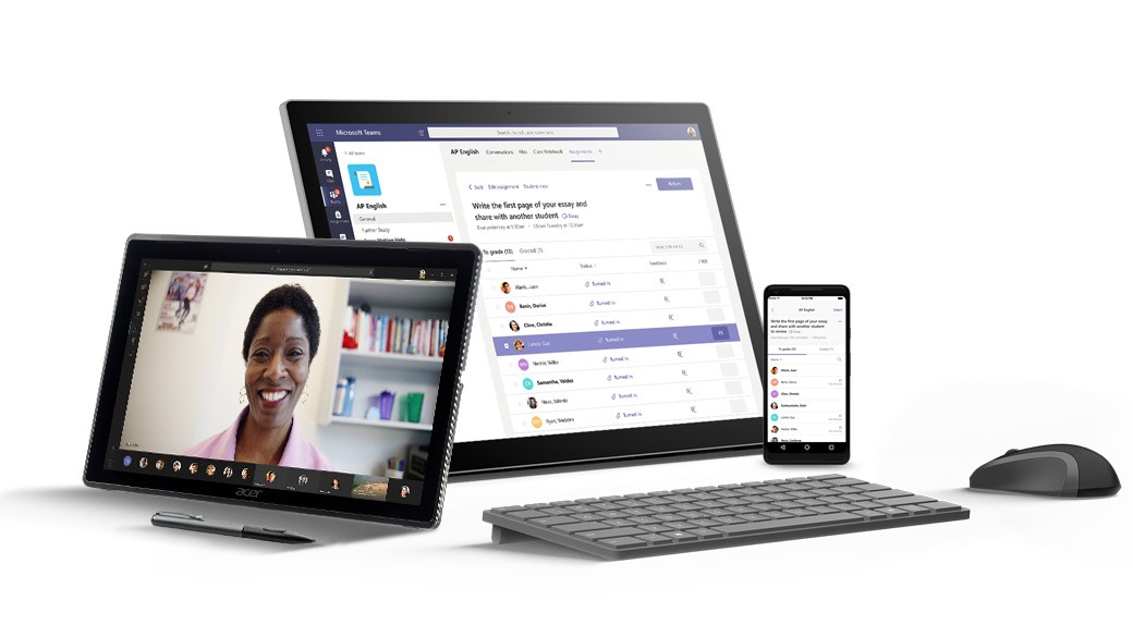 MS Teams displayed on multiple devices
