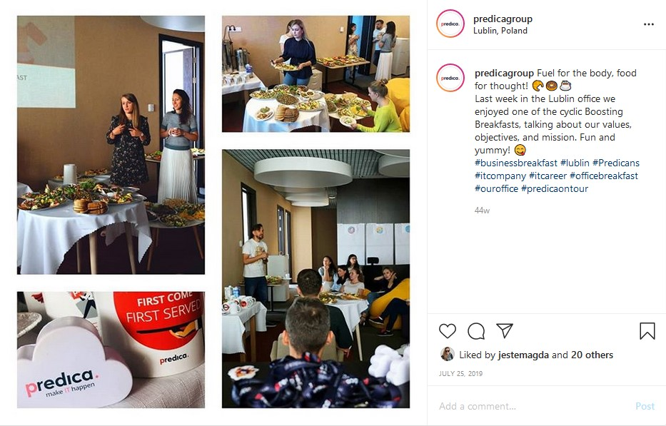 Instagram post of Predica breakfast morning