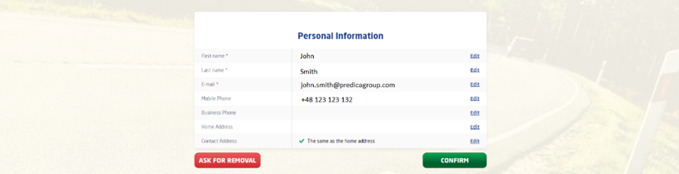 Review personal information in the customer portal