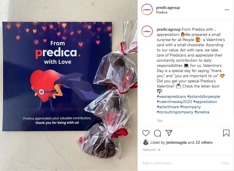 Instagram post of Valentine's Day gift for Predicans: card and chocolates
