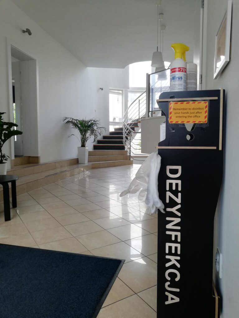 """Part of """"return to work"""" plan: A disinfection station at the office entrance"""
