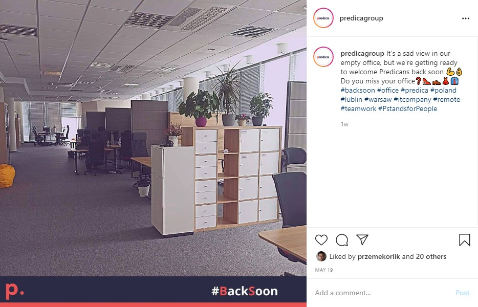 Instagram post of the empty office
