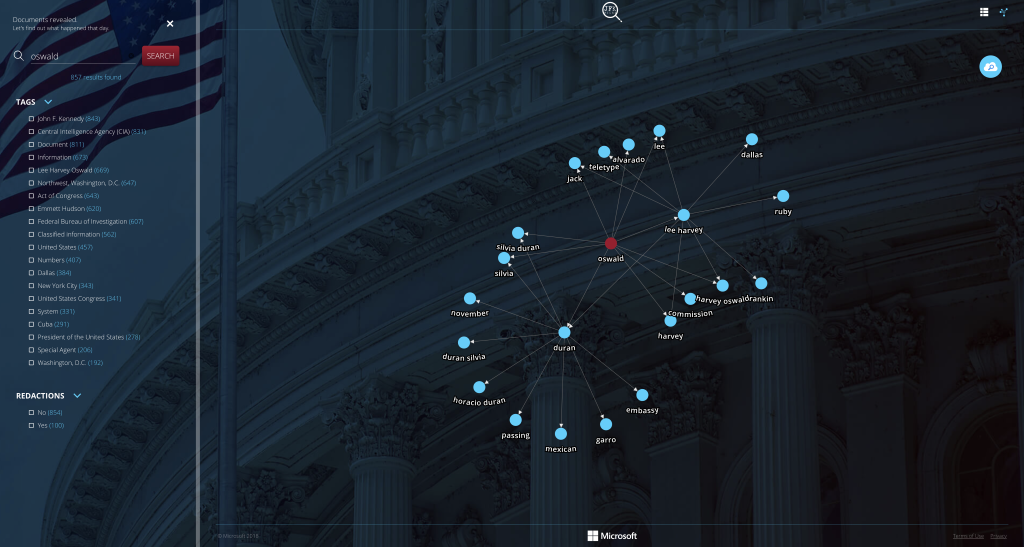 Knowledge Mining demo screenshot with connection chart