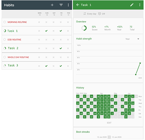 screenshot from Habits app with Task view