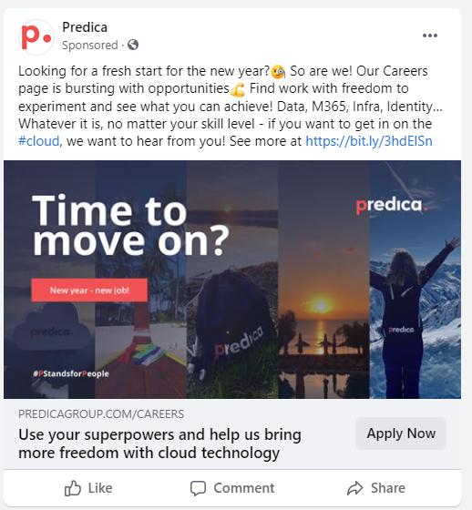 Screenshot of recruitment post