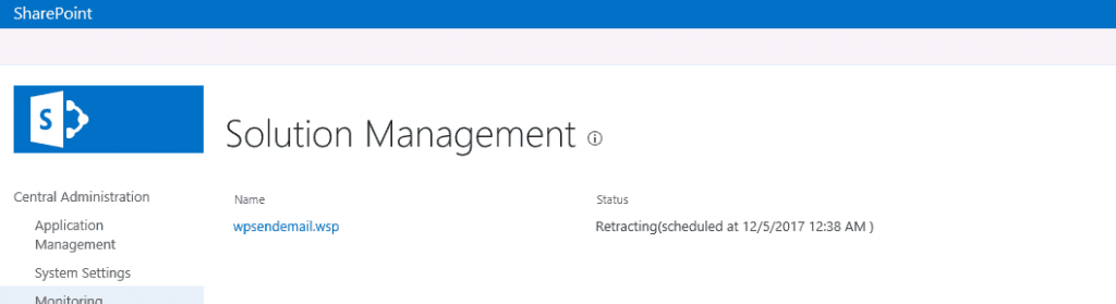 Screenshot from the SharePoint Solution Management