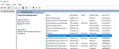 SharePoint services panel