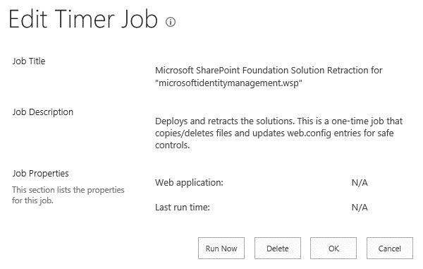 Microsoft SharePoint Foundation Solution Retraction for microsoftidentitymanagement.wsp