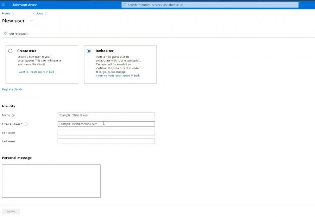 Creating a guest account in Azure AD
